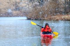 Winter kayaking Stock Photos