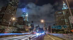 FDR Drive Cars Traffic Timelapse Manhattan New York City NYC Freedom Tower 4K Stock Footage