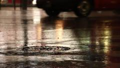 Rain on road Stock Footage