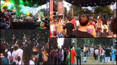 music  rock alternative on festival cameraman on dolly track multi screen Stock Footage