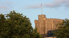 Windsor Castle The Round Tower with The Union Jack British flag Stock Footage