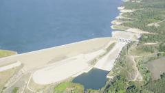 Aerial view of a Californian Reservoir Stock Footage