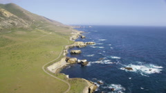 Aerial view of Californian coasts Big Sur - stock footage