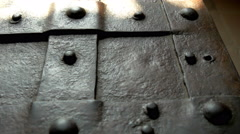 the details of the metal treasure chest from the castle gh4 4k uhd - stock footage