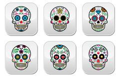 Mexican sugar skull, Dia de los Muertos buttons set on white background Stock Illustration
