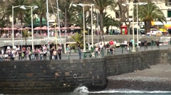Portugal Madeira 006 the quay wall of funchal city waterfront promenade Stock Footage
