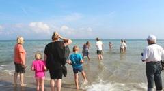People visting Skagen beach in the summer Stock Footage