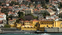 Portugal Madeira 004 waterfront with Funchal old town, fortress and church Stock Footage