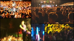 Music crowd fans audience  concert dj festival multi screen Stock Footage