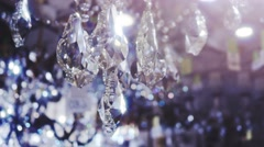 Stock Video Footage of Luxury crystals of a classic chandelier.