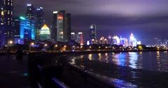 4k video,Seaside urban building at night,Tsingtao,QingDao,China. Stock Footage
