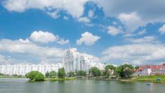4k Timelapse Downtown (Nemiga) View with Svisloch River in Minsk, Belarus. Stock Footage