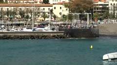Portugal Madeira 007 marina of funchal city behind quay wall Stock Footage