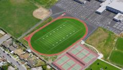 Aerial view of American Football Field - stock footage