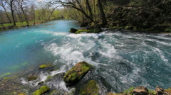 Missouri Current River at fast flowing Big Spring c Stock Footage