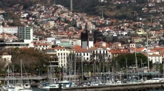 Portugal Madeira 014 Funchal marina and cityscape seen from waterside Stock Footage