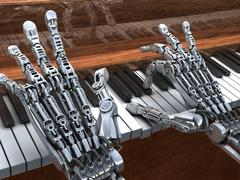 Stock Illustration of robot playing on piano. technology illustration