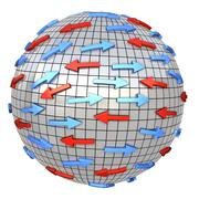 Red and blue arrows on abstract globe Stock Illustration