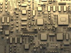 Fantasy circuit board. top view. 3d illustration Stock Illustration
