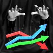 Stock Illustration of global conspiracy in the business. magician manages a rising and falling mark
