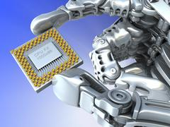 Stock Illustration of robot arm with fantasy chip or processor