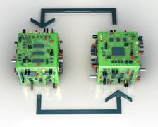 electronics scheme. conceptual technology illustration - stock illustration