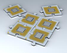 Puzzle made of fantasy cpu. conceptual technology 3d illustration Stock Illustration