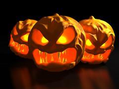 halloween monster pumpkins. fantasy 3d illustration. - stock illustration