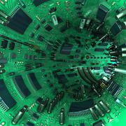 Stock Illustration of tunnel made  of mainboards and electrical parts. 3d illustration