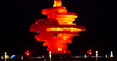 """4k QingDao,China,May Fourth Square in night,""""May Wind""""sculpture. Stock Footage"""
