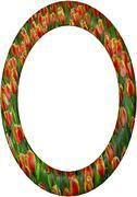 Oval Frame Tulips Artistic Ceramic - stock illustration
