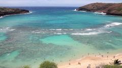 "Aerial view of ""toilet bowl"" Hanauma bay, Oahu, Hawaii Stock Footage"