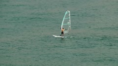 Portugal Madeira 015 windsurfer in the harbor of Funchal city Stock Footage