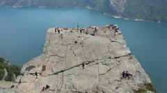 Preacher Pulpit Rock at Lysefjord overhead view - stock footage