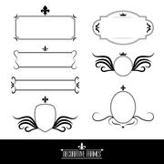 Set of decorative ornate frames and borders Stock Illustration