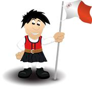 Cartoon illustration of a boy in traditional dress holding the flag of Malta - stock illustration