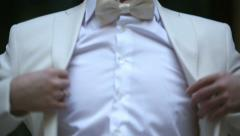 Redhead young businessman wears a white jacket. Close up Stock Footage