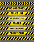 Caution tapes - yellow and black warning pattern Piirros
