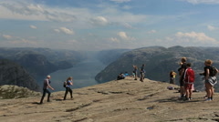 Preacher Pulpit Rock at Lysefjord on top view Stock Footage