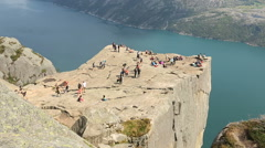 Preacher Pulpit Rock at Lysefjord overhead side view Stock Footage