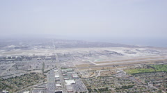 Aerial view of LAX Los Angeles City Airport Stock Footage