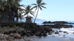 Hawaii Rocky Beach Home Oahu North Shore Stock Footage