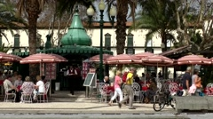 Portugal Madeira 026 street café at waterfront promenade of Funchal Stock Footage