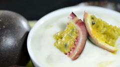 Maracuya yogurt (not loopable) Stock Footage