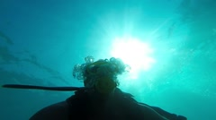 diver blowing bubbles under water, Antalya, Turkey 1 - stock footage