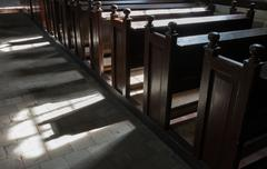 Church benches in garnwerd Stock Photos