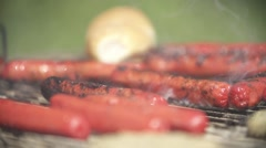 SAUSAGE ON GRILL Stock Footage