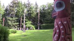 Totem Poles, tourist shuffle Stock Footage