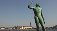 Statue next to city hall in stockholm Stock Footage