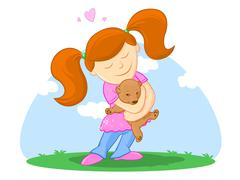 child and her teddy bearillustration - stock illustration
